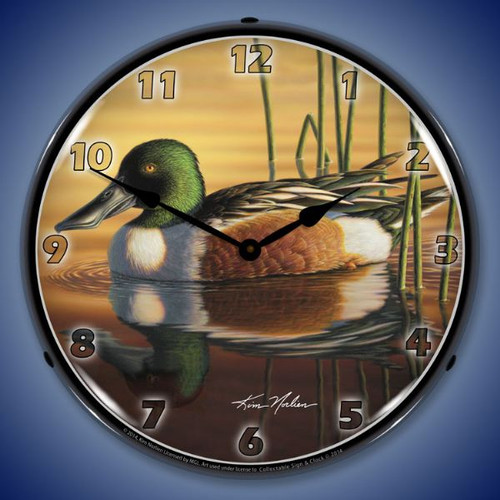 Northern Shovler Duck Lighted Wall Clock 14 x 14 Inches