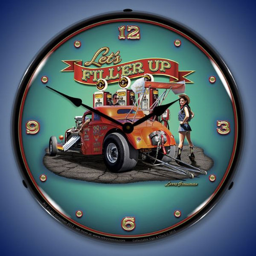 Lets Filler Up Lighted Wall Clock 14 x 14 Inches