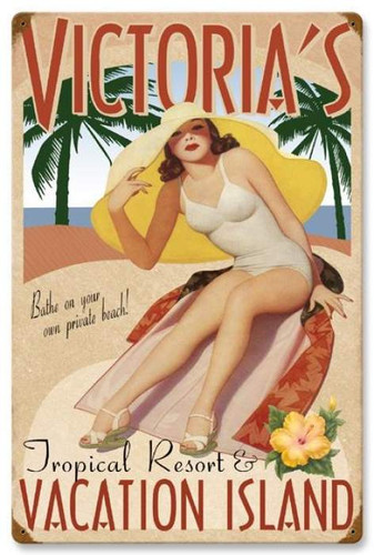 Vintage-Retro Vacation Island Metal-Tin Sign - Personalized