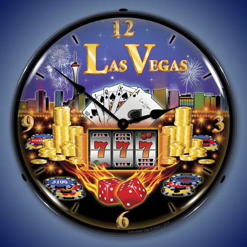 Las Vegas Lighted Wall Clock 14 x 14 Inches