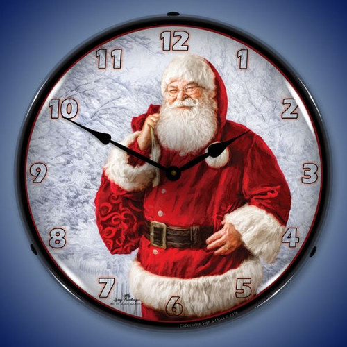 Jolly Santa Lighted Wall Clock 14 x 14 Inches