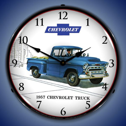 1957 Chevrolet Truck Lighted Wall Clock 14 x 14 Inches