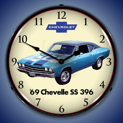1969 Chevelle SS 396 Lighted Wall Clock 14 x 14 Inches