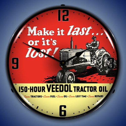 Veedol Tractor Oil Lighted Wall Clock 14 x 14 Inches