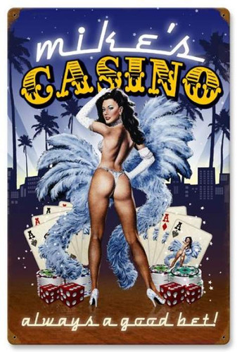 Vintage-Retro Casino - Pin-Up Girl Metal Sign -  - Personalized
