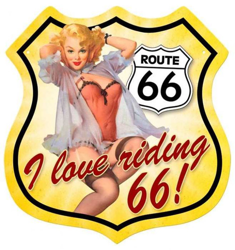 Vintage-Retro Route 66 Pinup Shield Metal-Tin Sign 1