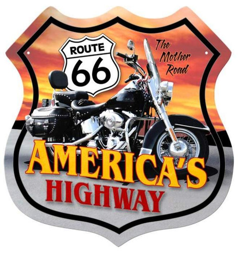Vintage-Retro Route 66 Motorcycle Shield Metal-Tin Sign