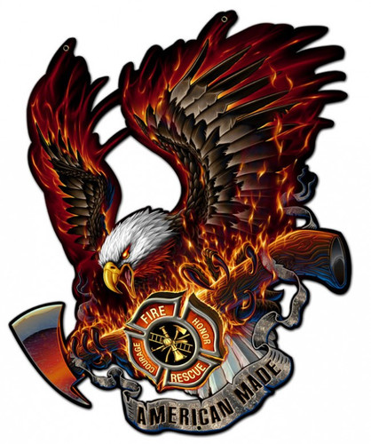 Eagle American Made Metal Sign 15 x 16 Inches