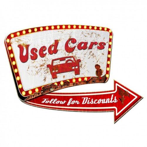 Used Car Sign 3-D Metal Sign 24 x 24 Inches