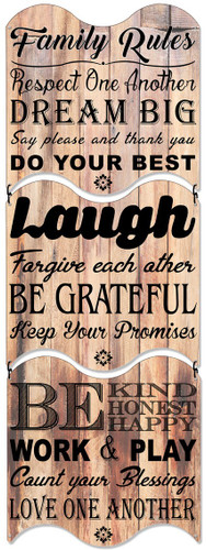 Family Rules Triptych Metal  Sign 12 x 36 Inches