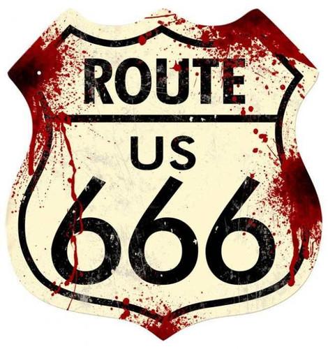 Vintage-Retro Route 666 Shield Metal-Tin Sign