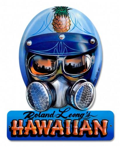Vintage-Retro Roland Hawaiin Helmet Metal-Tin Sign