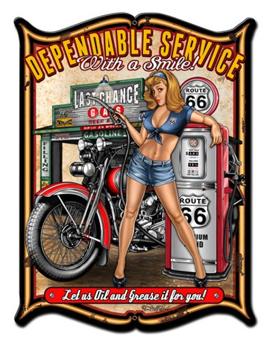 Dependable Service Pinup Girl Metal Sign 18 x 24 Inches
