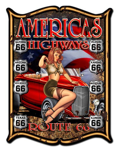 America's Highways Pinup Girl Metal Sign 14 x 19 Inches