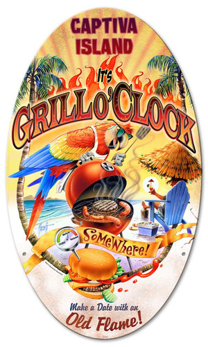 Grill O'Clock Oval Metal Sign 14 x 24 Inches