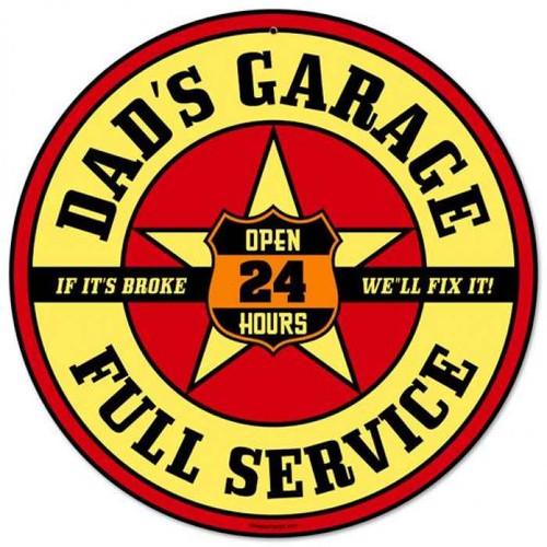 Vintage-Retro Dads Garage Round Metal-Tin Sign