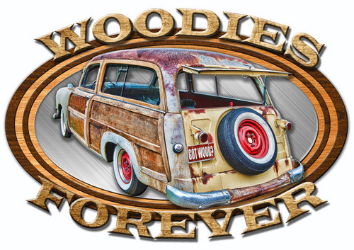 3-D Layered Wood Forever Metal Sign 24 x 16 Inches