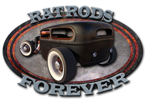 3-D Layered Rat Rod Forever Metal Sign 24 x 15 Inches
