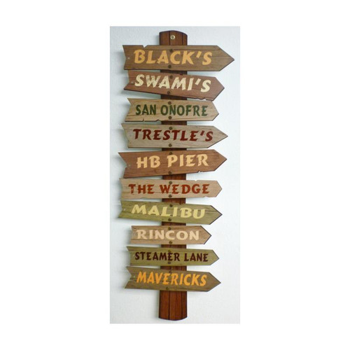3-D Layered California Surf Spots Metal Sign 12 x 28 Inches