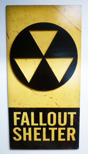 3-D Layered Fallout Shelter Metal Sign 18 x 36 Inches