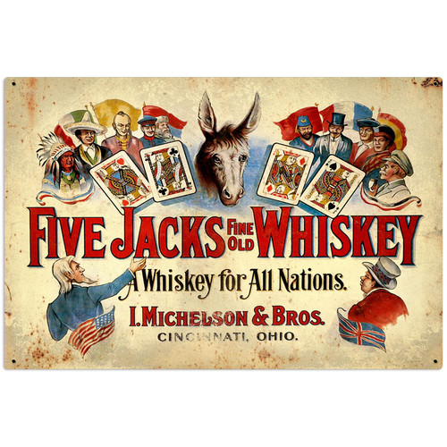 Five Jacks Whiskey Metal Sign 36 x 24 Inches