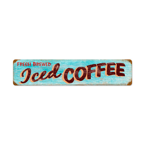 Iced Coffee Metal Sign 28 x 6 Inches