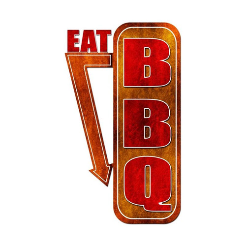 Eat Bbq Metal Sign 15 x 24 Inches
