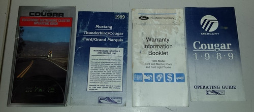 1989 Cougar XR7 Owners Manual Inserts
