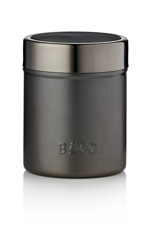 cocoa shaker from Barista & Co. Gunmetal color