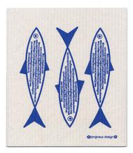 Jangneus Swedish dishcloth, Blue Fish, 100% biodegradable