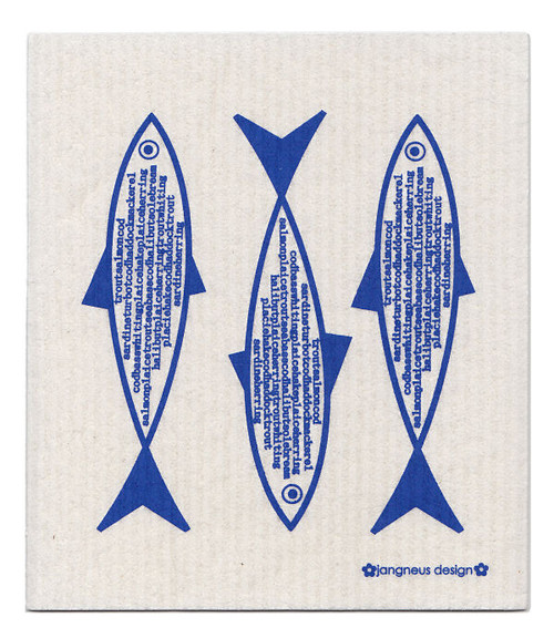 Jangneus Swedish dishcloth, Blue Fish, 100% biodegradable