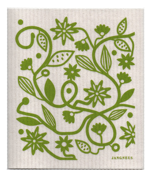 Eco-friendly doodle green dishcloth