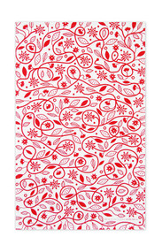 Jangneus Swedish Tea Towels - Doodle Flower - Red - 100% cotton