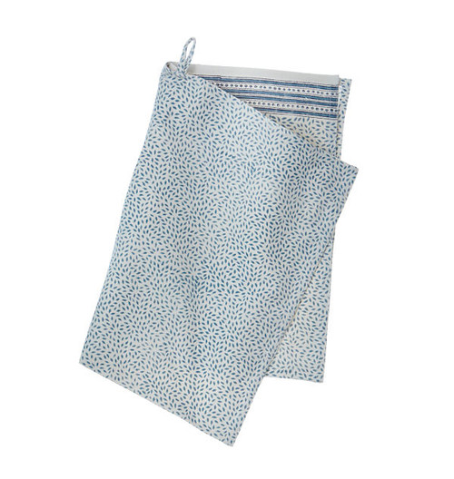 Contemporary High Quality Kitchen Towel - Mini Leaf - Dusty Blue