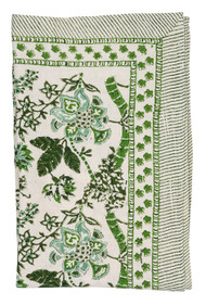 Floral green tablecloth from Chamois in Denmark