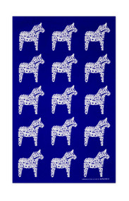 Swedish kitchen towel - Dala Horse - Blue - Cotton