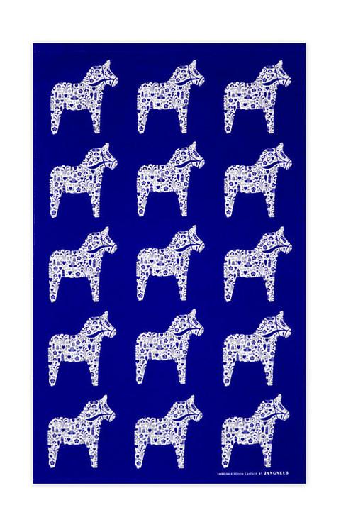 Swedish kitchen towel - Dala Horse - Blue - Cotton