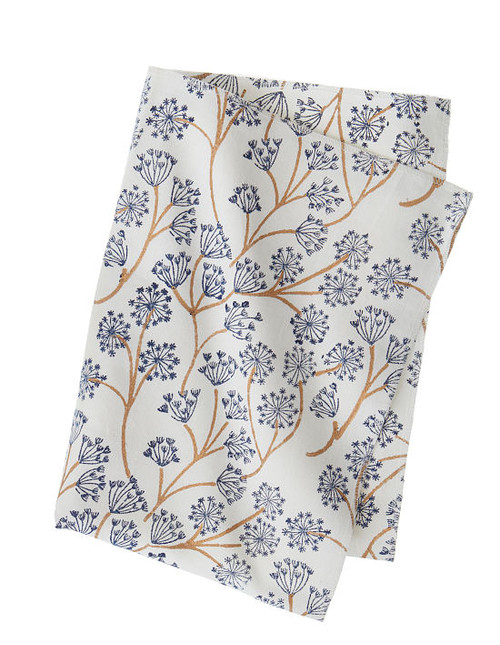 Block print kitchen towel - Bella - Midnight - Cotton