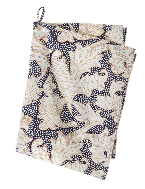 Block print kitchen towel - Flora- Midnight Gold - Cotton