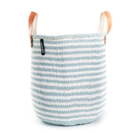 Kiondo Basket - Thin Stripes Light Blue & White w/Handles- Medium
