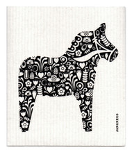 Swedish Dishcloth - Dala Horse - Black
