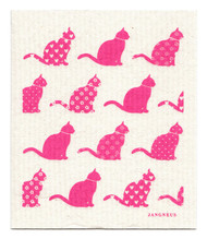 Swedish Dishcloth - Cats - Pink
