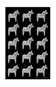 Swedish Kitchen Towels - Dala Horse - Black