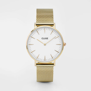 Cluse La Boheme Mesh Gold/White Watch
