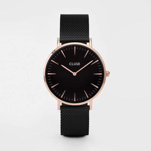Cluse La Boheme Mesh Rose Gold Black/Black Watch CL18034