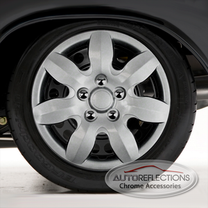 "Set of Four 15"" Silver ABS Wheel Covers for 2007-2011 Hyundai Elantra (Push-on)"