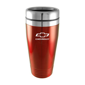Chevrolet on Red Travel Mug - Officially Licensed