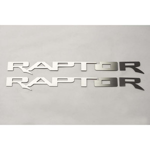 2pc Brushed Stainless Steel Running Board Letters for 2017-18 Ford F-150 Raptor