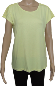 Plain with Crochet back panel summer top. in Lemon or Coral. Ex M&S