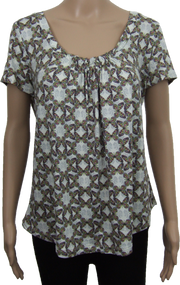 Butterfly Pattern Gathered Scoop Neck Top. Ex M&S